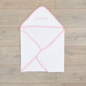 Personalised White Basic Hooded Towel With Pink Trim