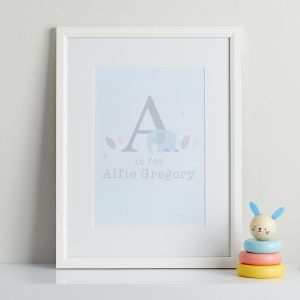 Personalised Blue Elephant Children's Room Print With Frame