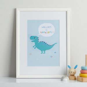 Personalised Dinosaur 'Roarsome' Children's Room Print With White Frame