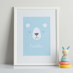 Personalised Blue Bear Children's Room Print With White Frame