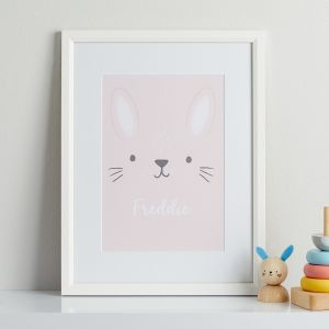 Personalised Pink Bunny Children's Room Print With White Frame