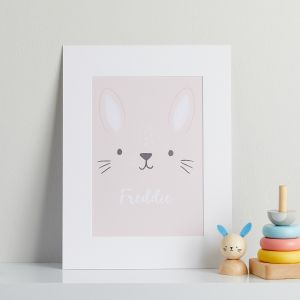 Personalised Pink Bunny Children's Room Print Mount Board Only