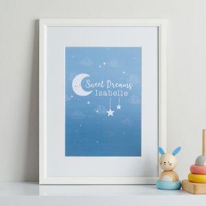 Personalised 'Sweet Dreams' Children's Room Print - Framed