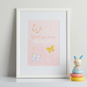 Personalised Pink Butterfly Children's Room Print - Framed
