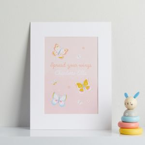Personalised Pink Butterfly Children's Room Print - Mountboard