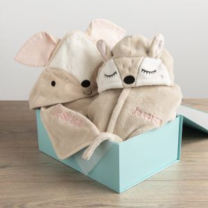 Personalised Fawn Splash and Snuggles Gift Set