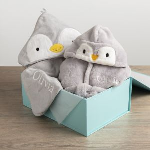 Personalised Penguin Splash and Snuggles Gift Set