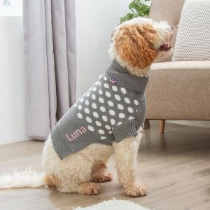 Personalised Spot Intarsia Knitted Pet Jumper Grey