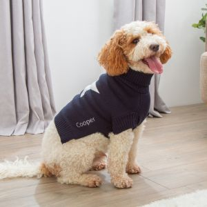 Personalised Star Intarsia Knitted Pet Jumper Navy