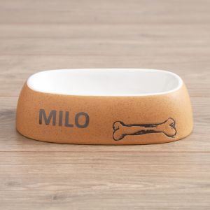 Personalised Ceramic Oval Dog Bowl