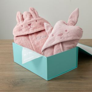 Personalised Pink Bunny Splash & Snuggle Gift Set