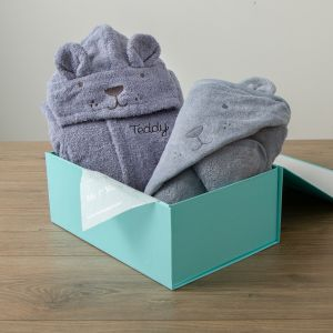 Personalised Blue Bear Splash & Snuggle Gift Set
