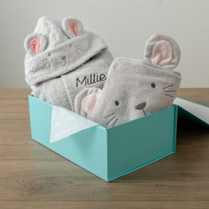 Personalised Grey Mouse Splash & Snuggle Gift Set