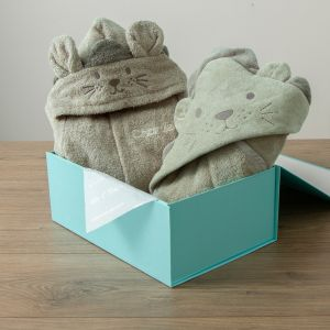 Personalised Taupe Lion Splash & Snuggle Gift Set