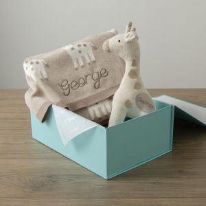Personalised Taupe Giraffe Knitted Set