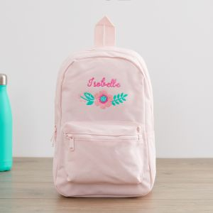 Personalised Pink Flower Design Backpack