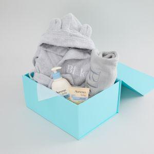 Personalised Grey Baby Bathtime Gift Set