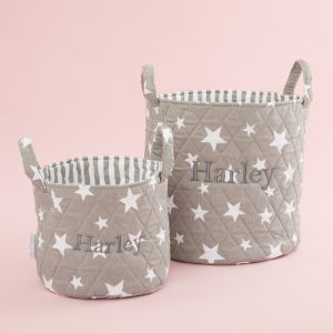 Personalised Grey Star Storage Bag Gift Set
