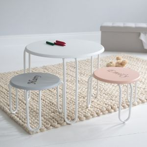 Pink & Grey Round Table and Stool Set