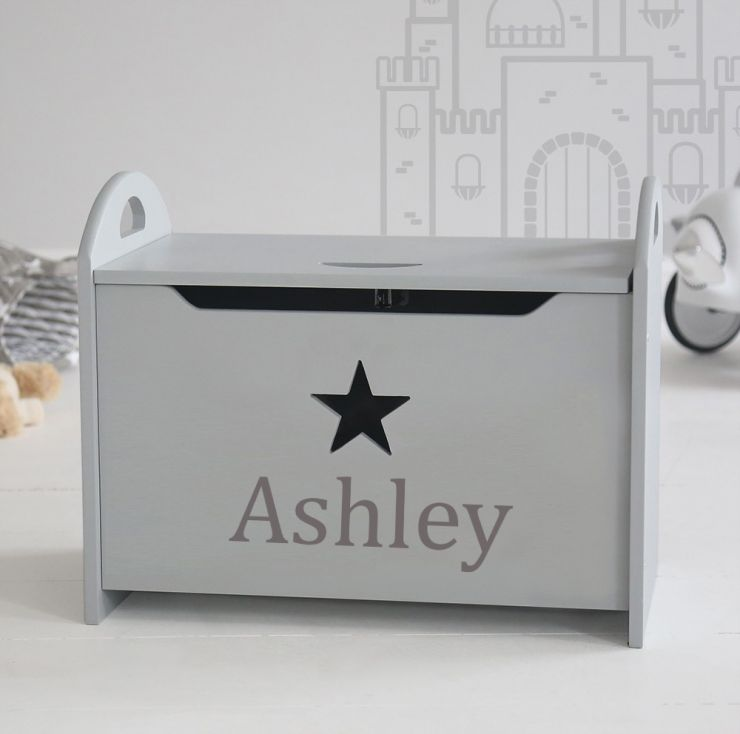 Personalised Grey Star Toy Chest