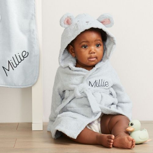 Personalised Grey Mouse Towelling Robe Flat View