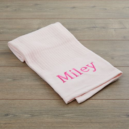 Personalised Light Pink Cellular Blanket