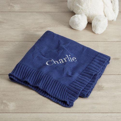Personalised Navy Star Jacquard Knit Blanket