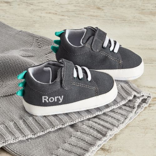 Personalised Grey Dinosaur Detail Baby Trainers