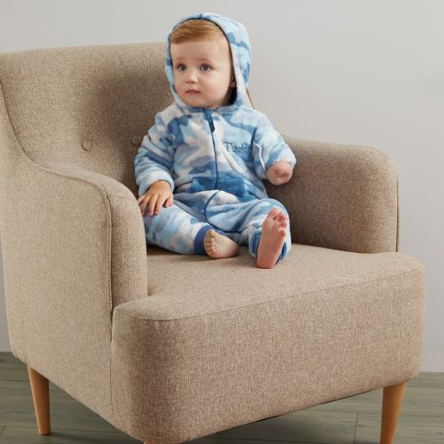 Personalised Blue Camouflage Fleece Onesie - Model