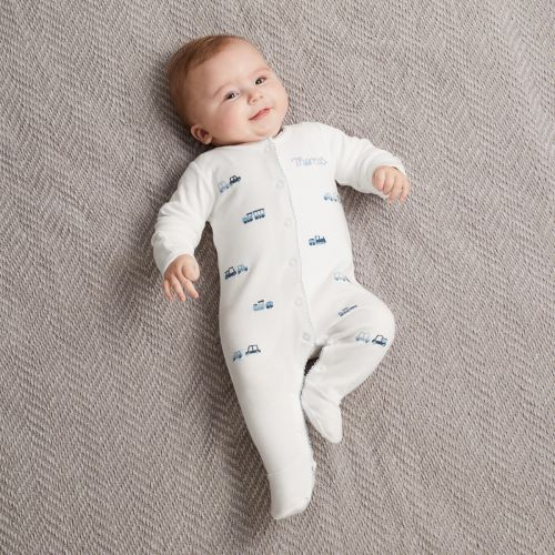 Personalised Embroidered Transport Organic Sleepsuit