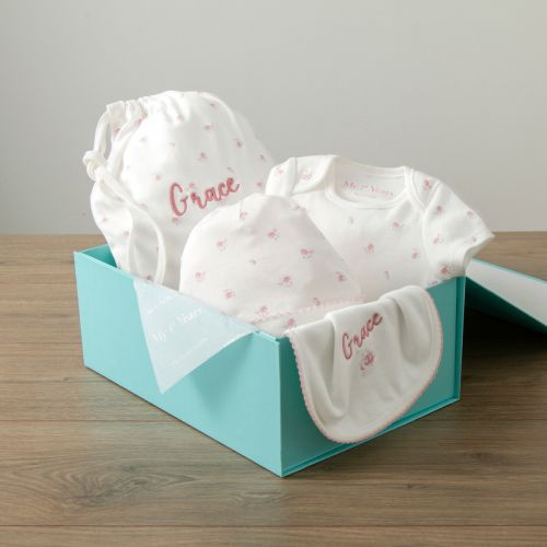 Personalised Floral Print Organic Baby Gift Set
