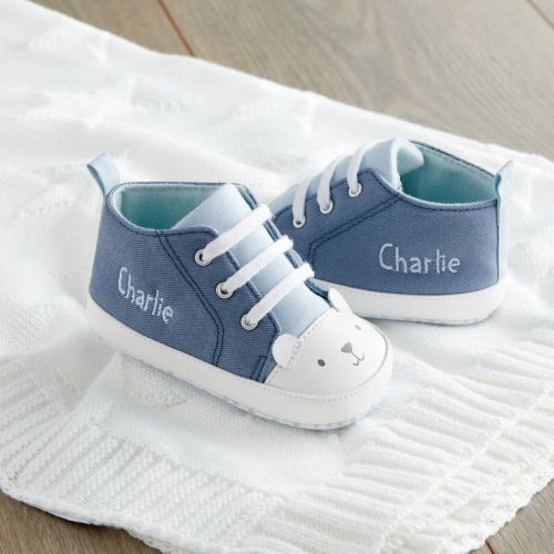 Personalised Blue Bear High Top Trainers