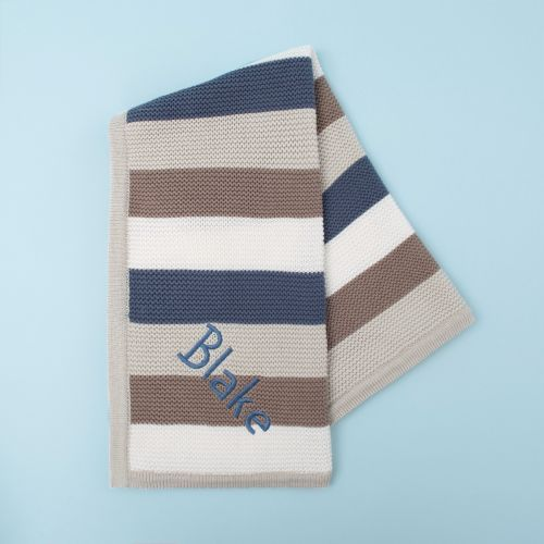 Personalised Blue Stripe Knitted Blanket