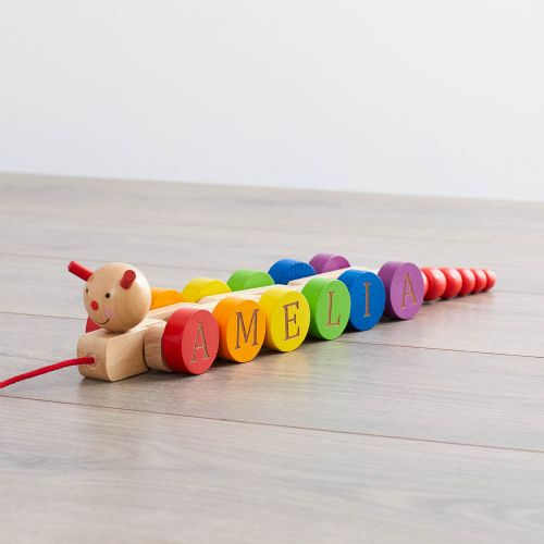 Personalised Wooden Pull Along Caterpillar