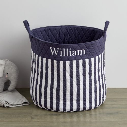 Personalised Large Navy Stripe Storage Bag