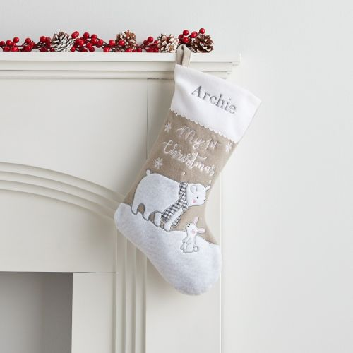 Personalised Small Fleece 1st Christmas Polar Bear Stocking