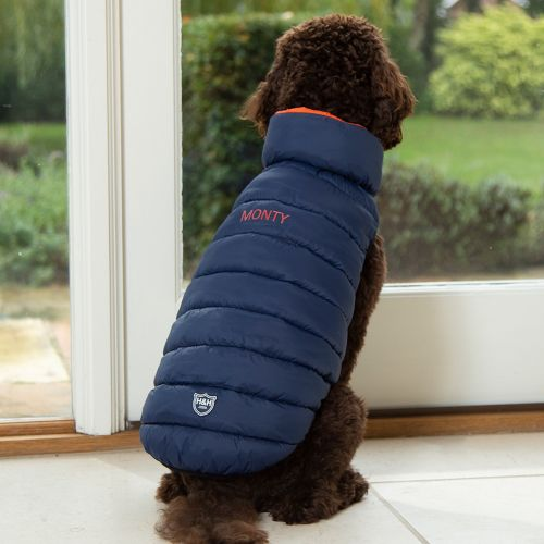 Personalised Reversible Dog Puffer Jacket - Model