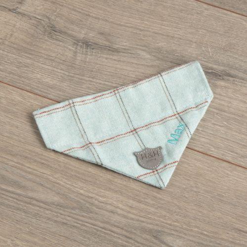 Personalised Tweed Pet Neckerchief - Aqua