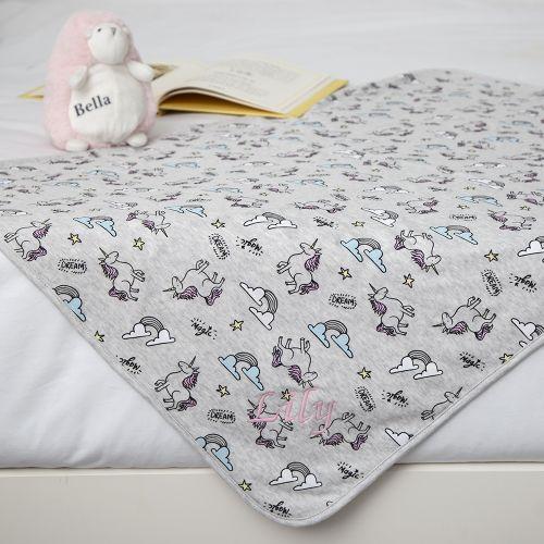 Personalised Unicorn Print Blanket