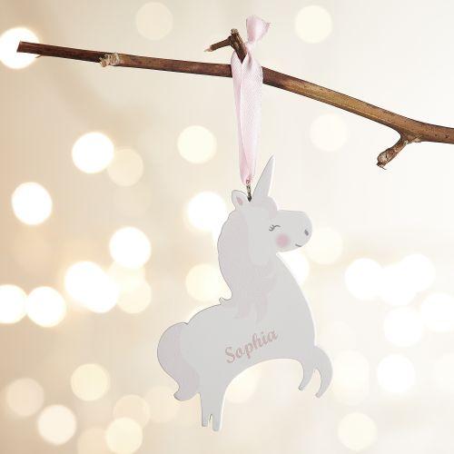 Personalised Wooden Unicorn Decoration