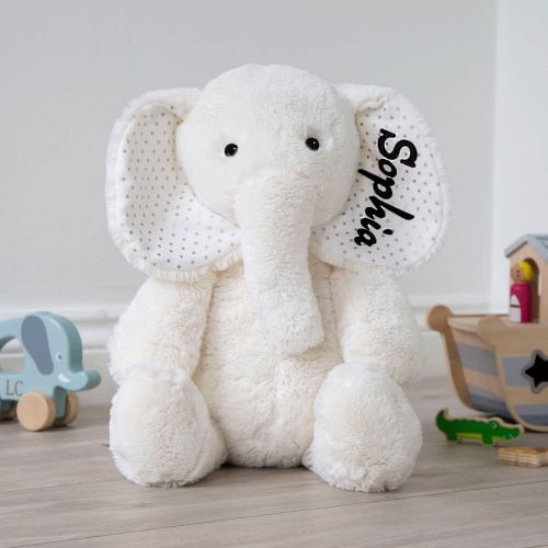 Personalised Large White Elephant Soft Toy