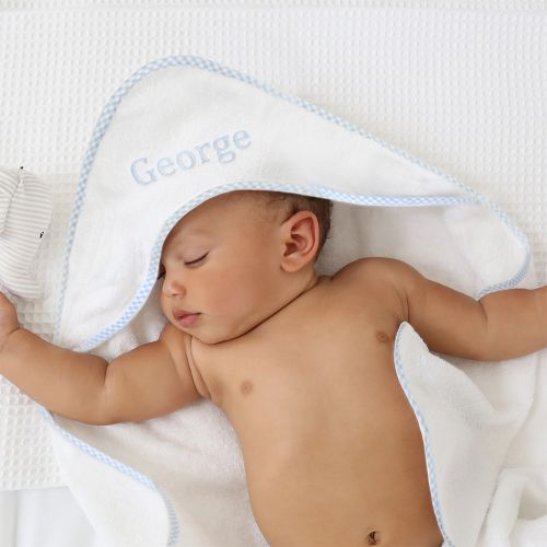 Personalised Blue Gingham Trim Hooded Towel