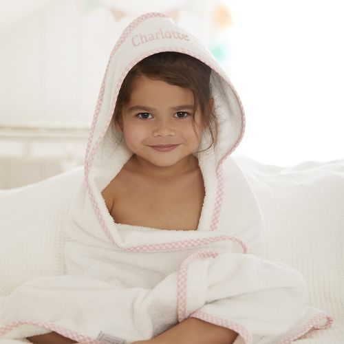 Personalised Pink Gingham Trim Hooded Towel