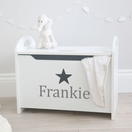 Personalised Star Toy Box Grey Font Styled