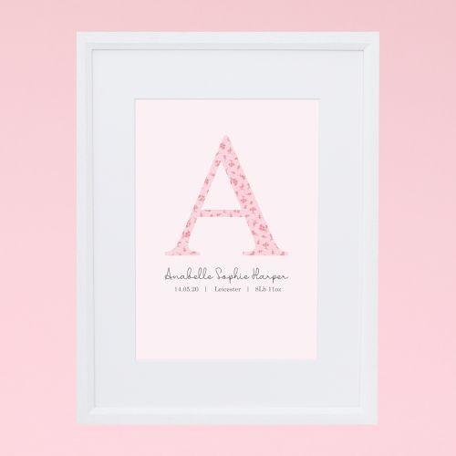 Personalised Pink Floral Design Inital Wall Art