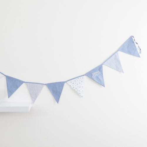 Personalised Blue Patchwork Bunting