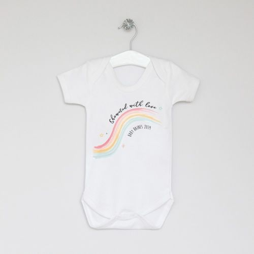 Personalised Baby Shower Rainbow Bodysuit