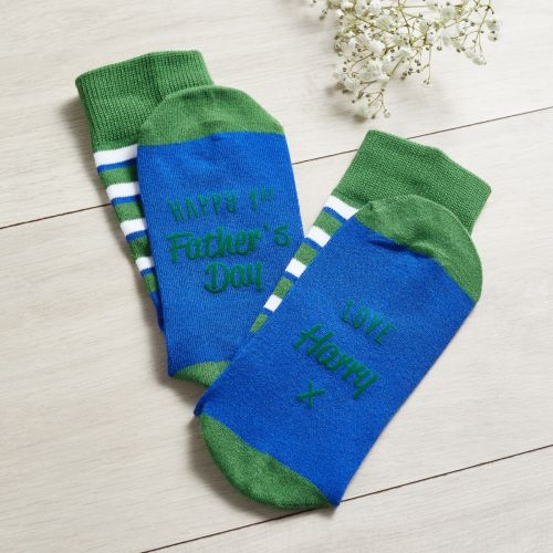 Personalised Blue & Green Father's Day Socks