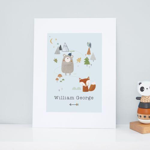 Personalised Little Adventurer Woodland Design Wall Art