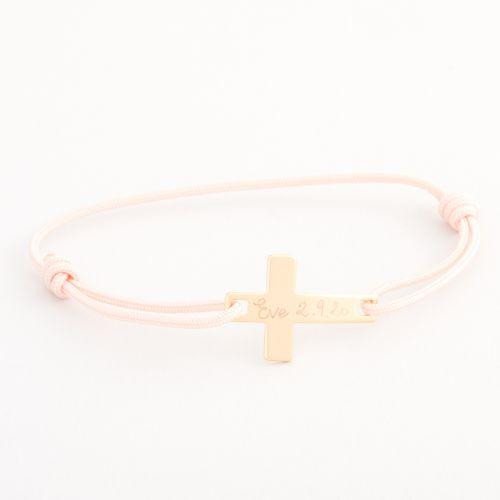 Personalised Merci Maman Children's Gold Flat Cross Bracelet